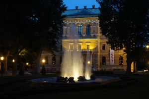 Zagreb park at night.