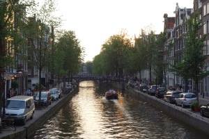 The sun setting in Amsterdam.