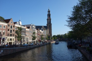 The Prinsengracht canal - Anne Frank's House is next to the church.