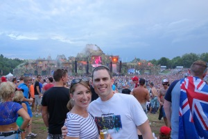 Jez and I at the main stage, luckily with an Aussie flag in the picture too!