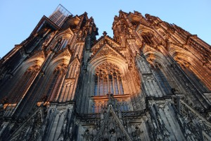 The Koln Dom at sunset.