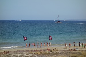 Promo people parading on Playa den Bossa