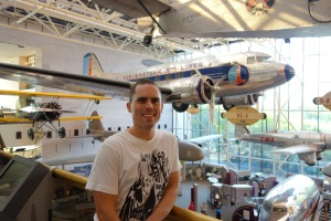 Jez amongst the planes at the Air and Space Museum.