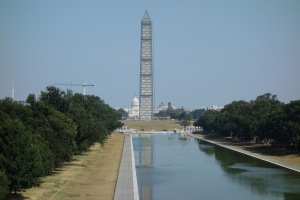 The National Mall with the obelisk undergoing some renovations after an earthquake last year.
